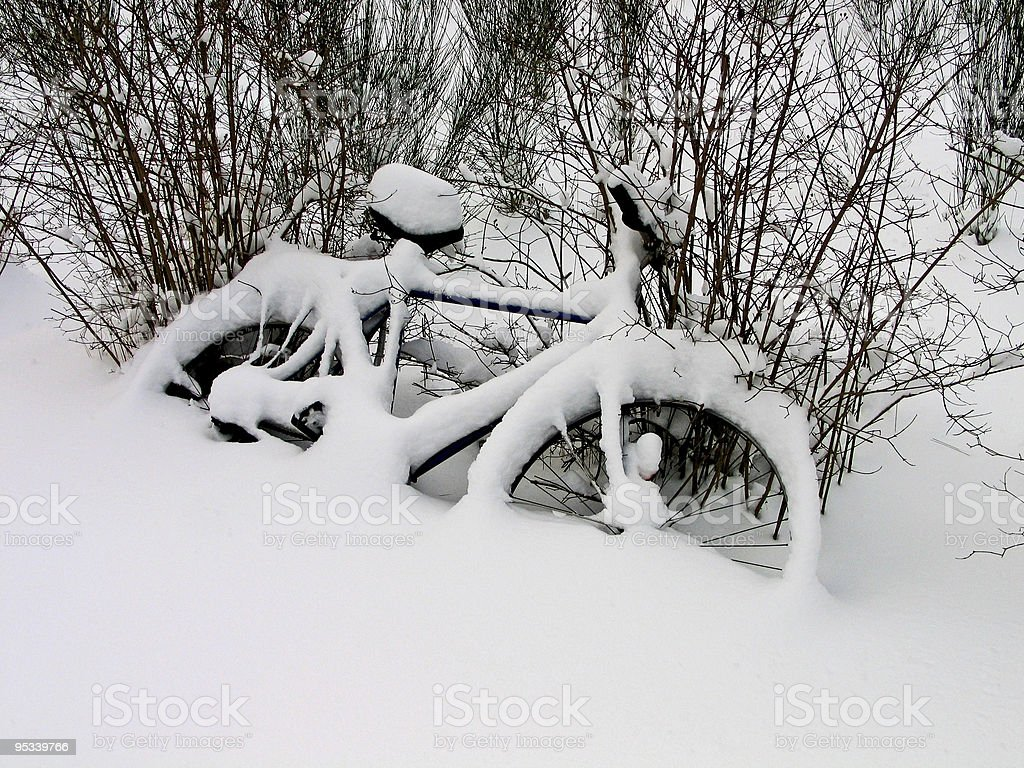 Bicycles in the snow - Christmas time royalty-free stock photo