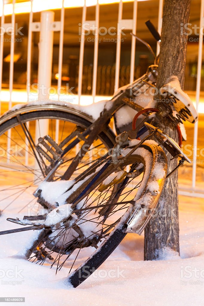 Bicycles in the snow royalty-free stock photo