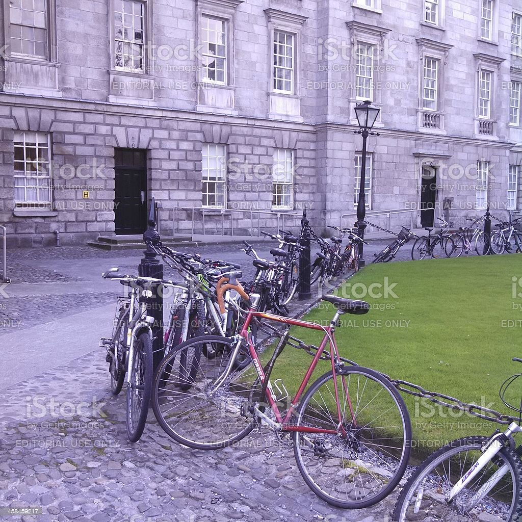 Bicycles in Trinity College royalty-free stock photo