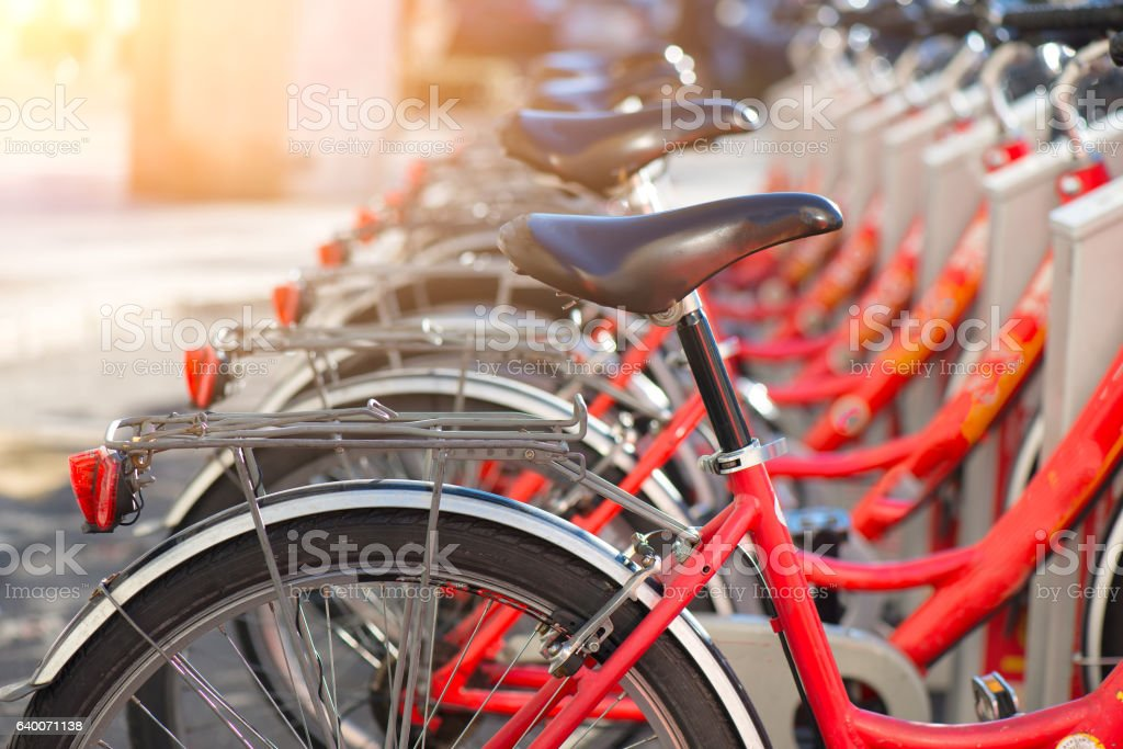 Bicycles in use in the city stock photo