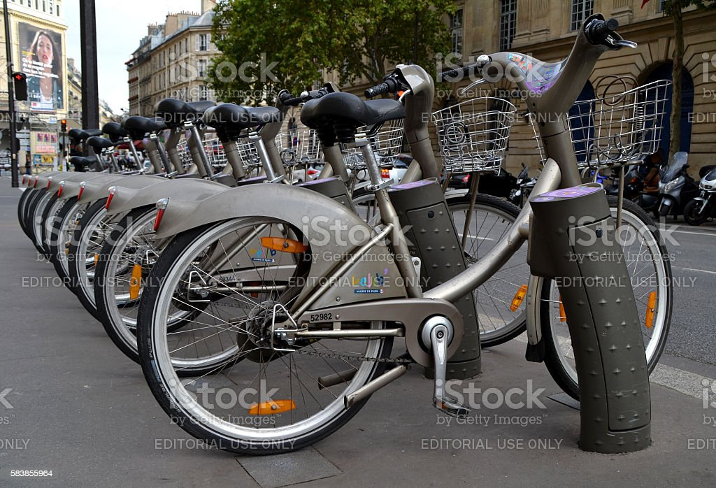 Bicycles of the Velib service in Paris stock photo