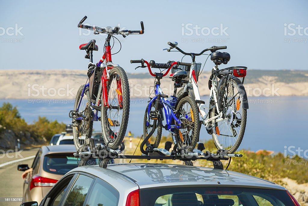 Bicycles on bike roof carrier royalty-free stock photo