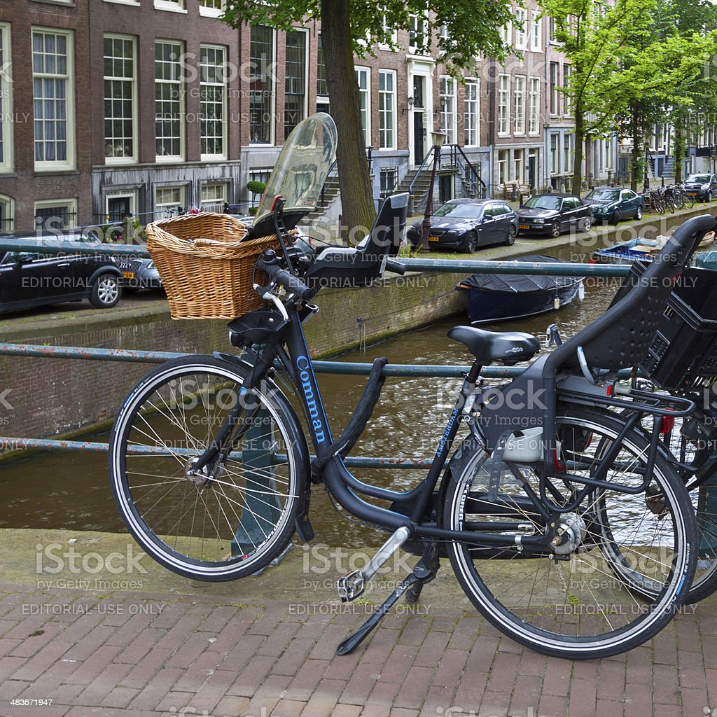 Bicycles parked along the Bridge, Amsterdam. royalty-free stock photo