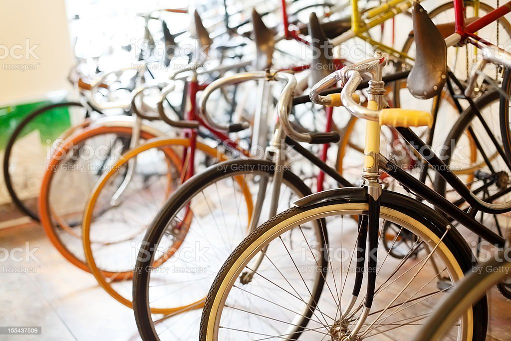 Bicycles parked in a bike shop royalty-free stock photo