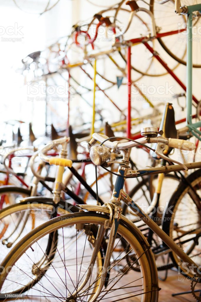Bicycles parked in a bike shop stock photo
