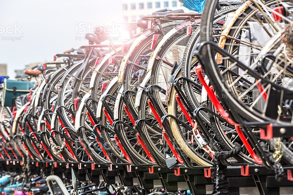 Bicycles parked in Amsterdam stock photo