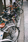 Bicycles parked on a Tokyo Street