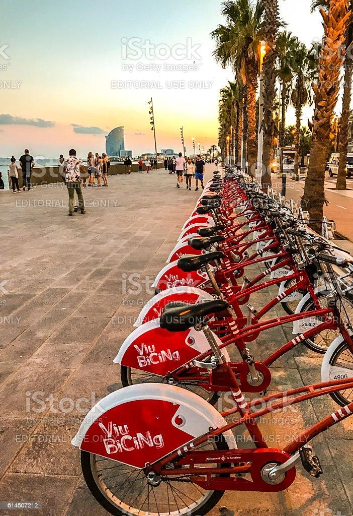 Bicycles parked on Barcelonetta promenade, Barcelona stock photo