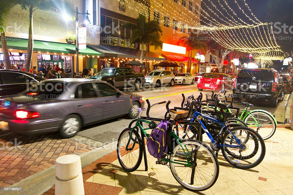 Bicycles  parked on Clematis Street in West Palm Beach stock photo