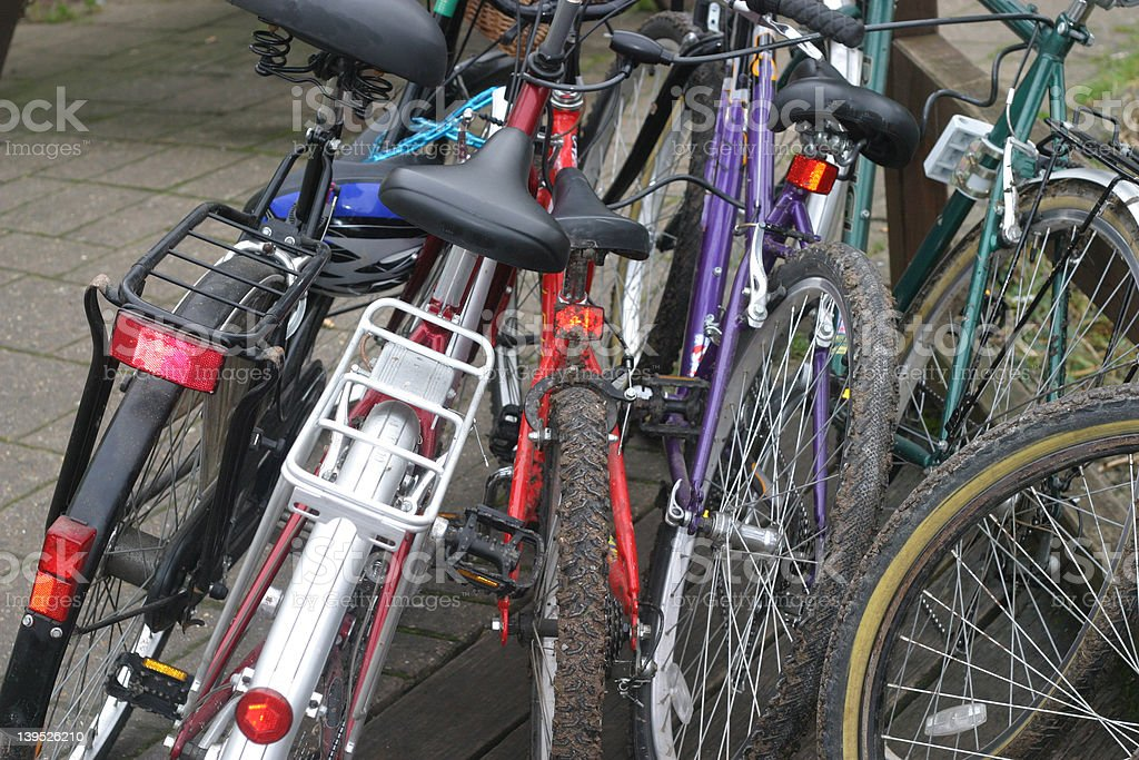 Bicycles parked stock photo