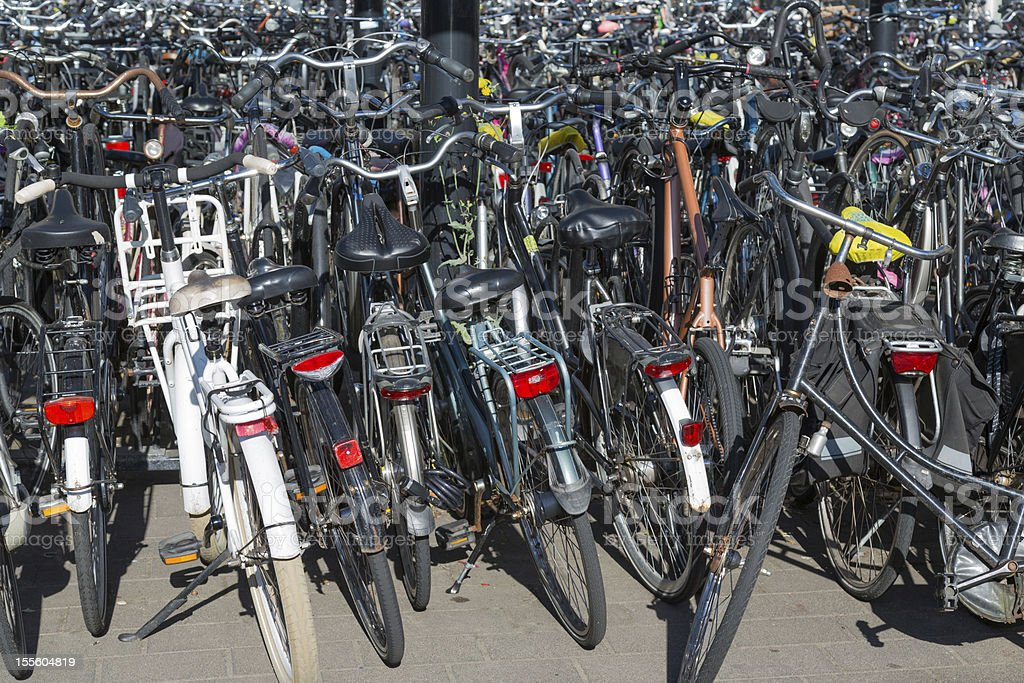 Bicycles parking in the Netherlands royalty-free stock photo