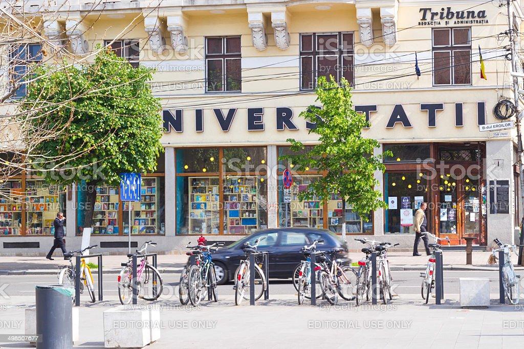 Bicycles parking lot, Cluj-Napoca, Romania stock photo