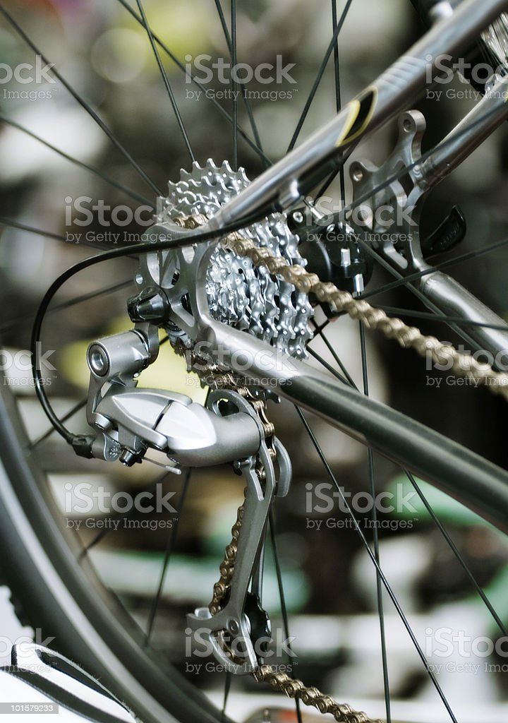 Bicycles; Rear Derailleur at a bike store royalty-free stock photo
