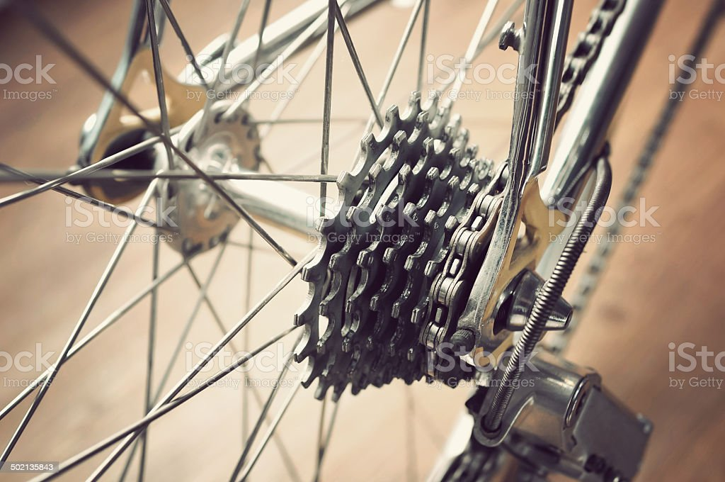 Bicycle's rear wheel stock photo