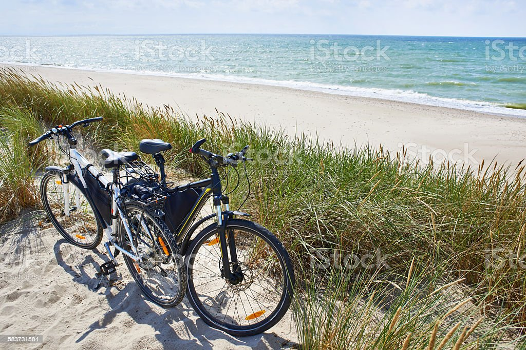 Bicycles tourists travel in nature on sunny day stock photo