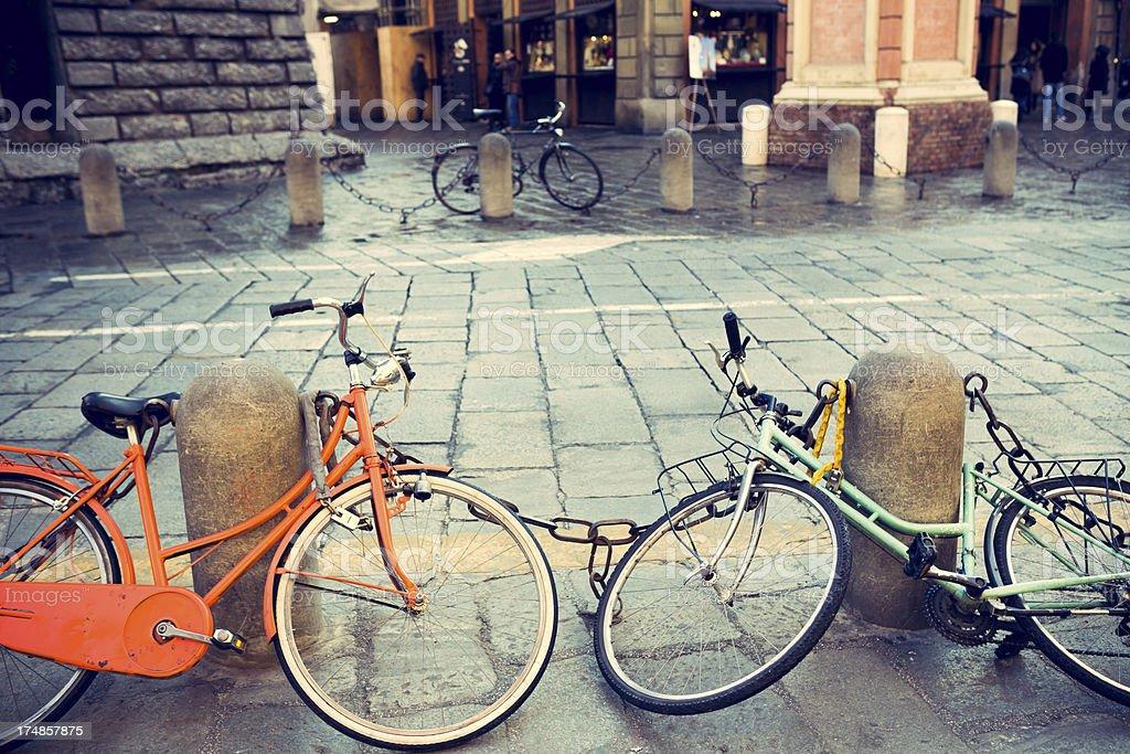 Bicycles with Padlock stock photo