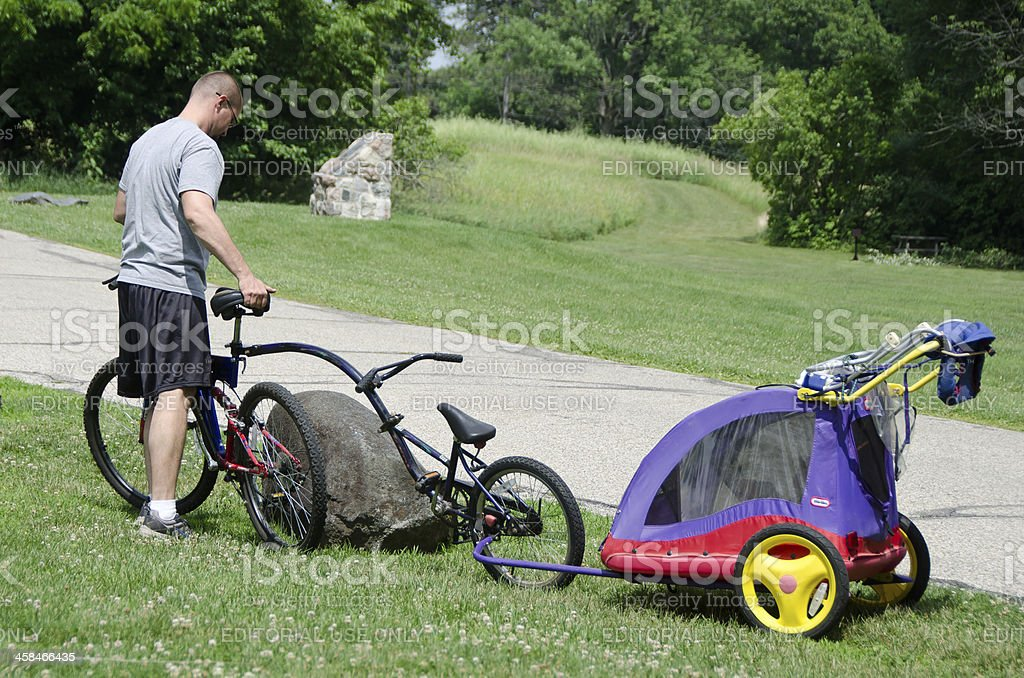 Bicycle,Trailer Bike and Little Tikes Cruiser stock photo