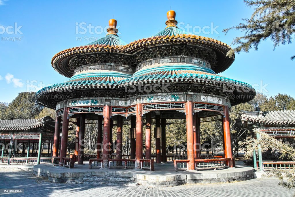 Bicyclic Wanshou Pavilion in Temple of Heaven stock photo
