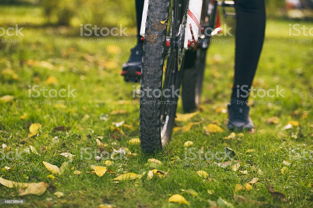 Bicycling in Fall. stock photo