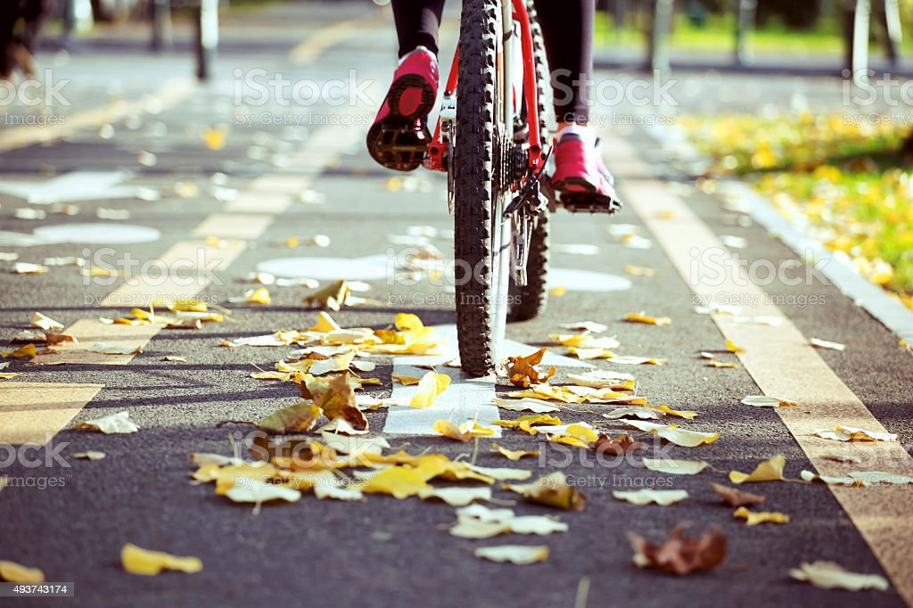 Bicycling in Fall. Urban concept. stock photo