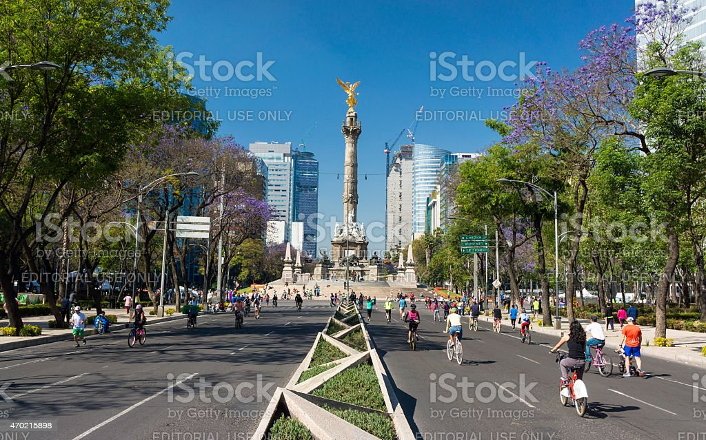 Bicycling On Sunday Morning In Mexico City, Mexico stock photo