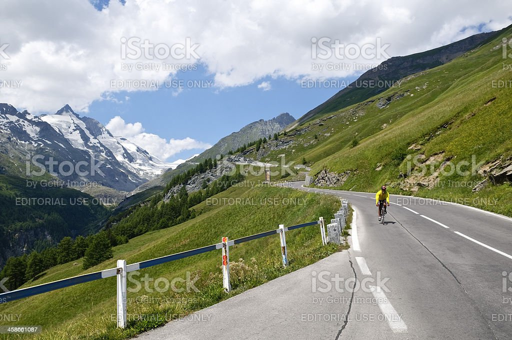 Bicycling the Alps stock photo