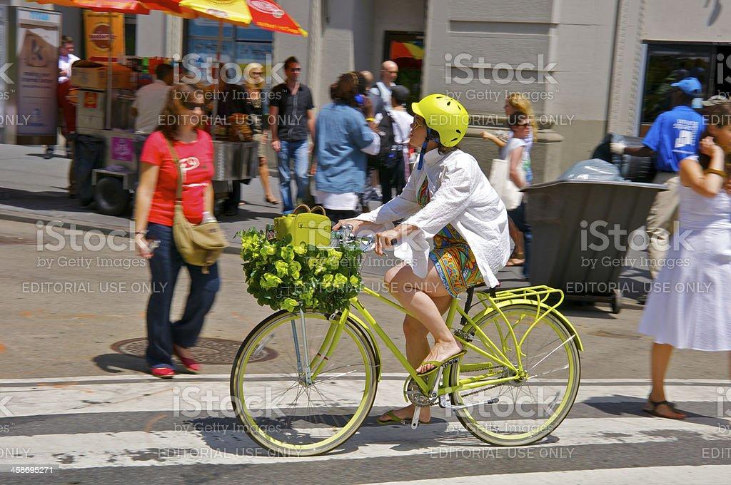 Bicyclist and pedestrians along E.17th Street, Manhattan NYC stock photo