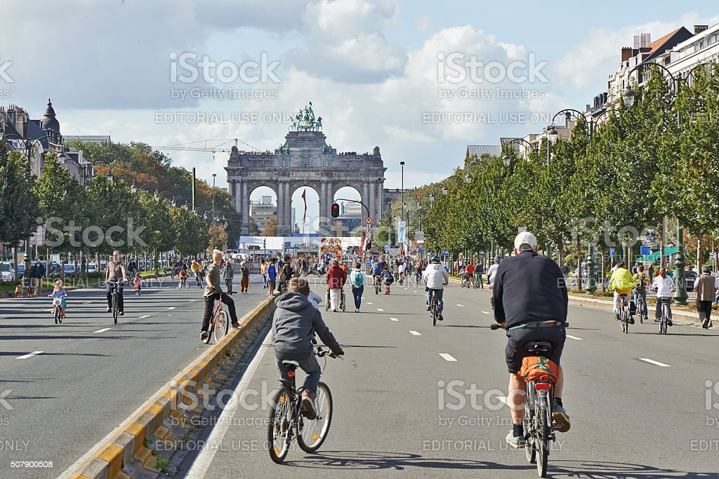 Bicyclist and walkers enjoy Car Free Streets stock photo