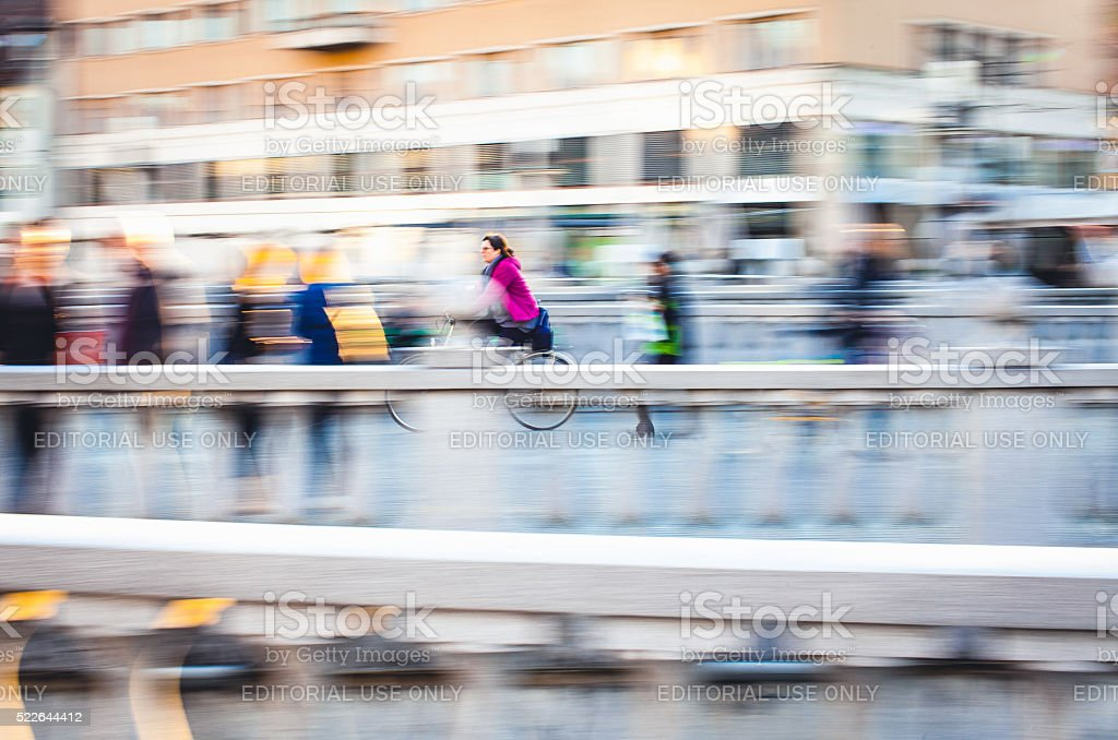 Bicyclist at the city stock photo
