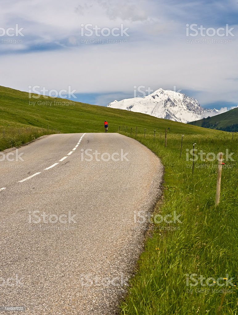 Bicyclist in the mountains royalty-free stock photo
