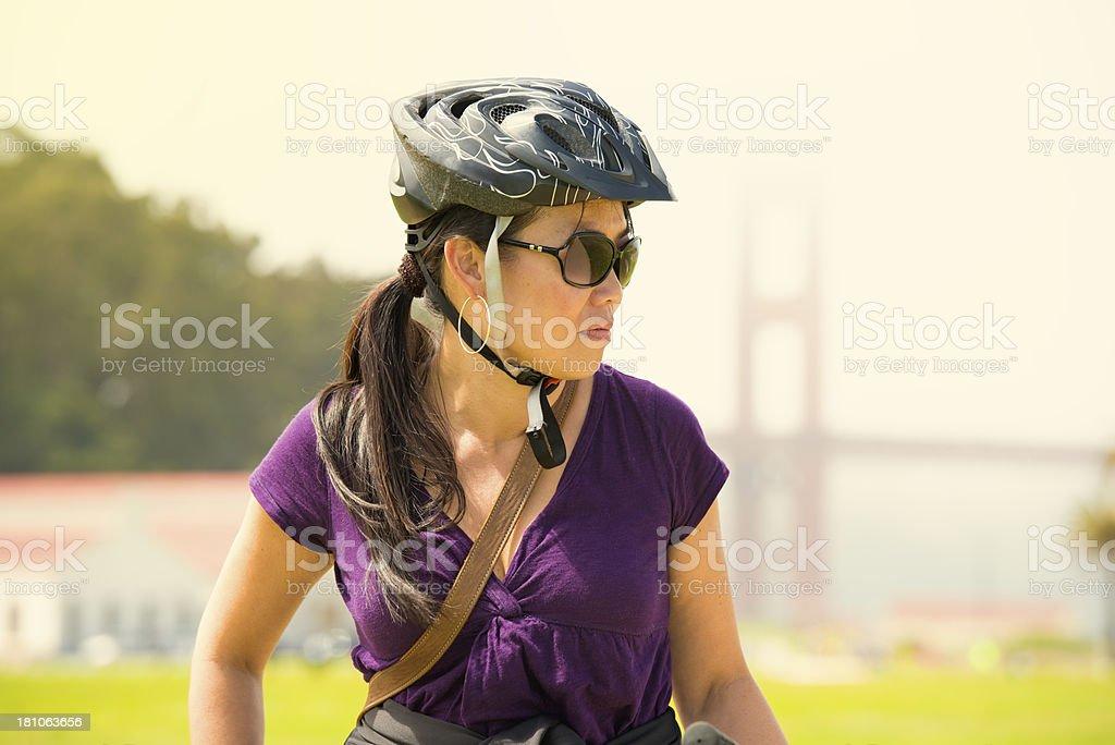 Bicyclist Near Golden Gate Bridge royalty-free stock photo