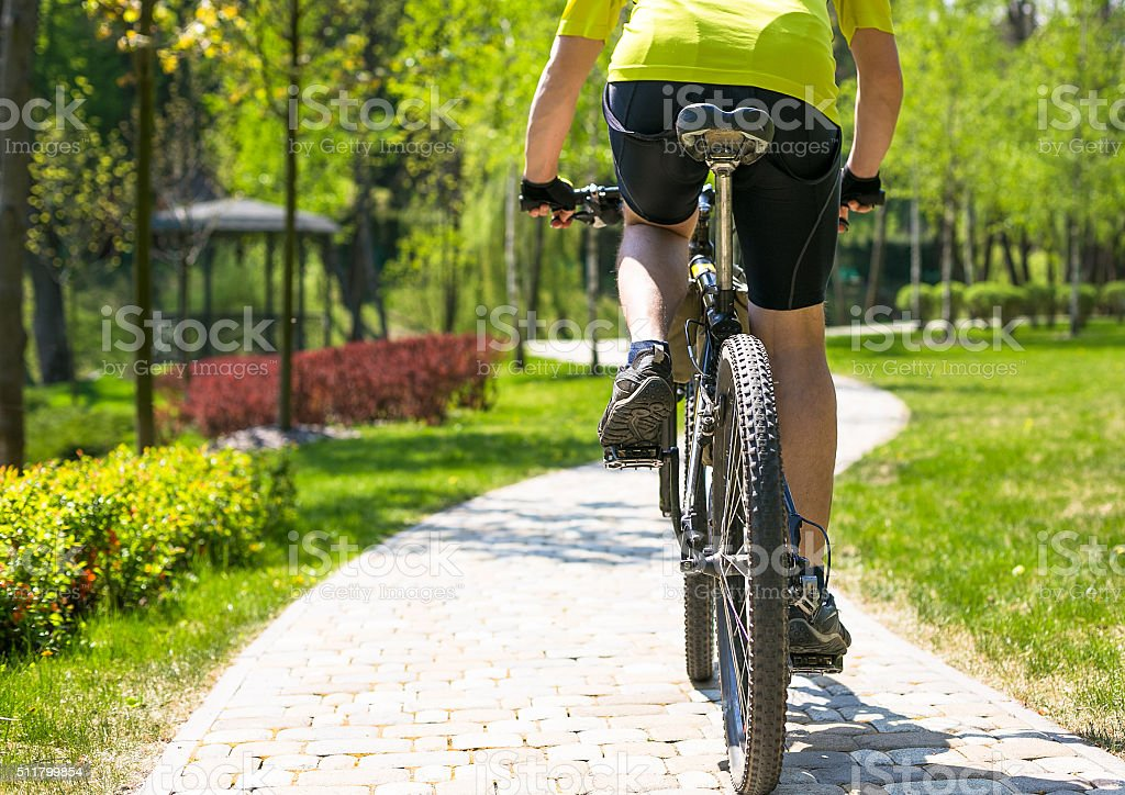 Bicyclist rides on the road in city park. Sunny summer stock photo