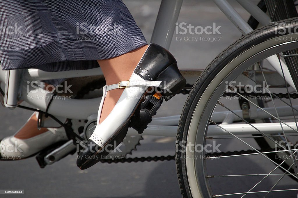 Bicyclist Wearing Saddle Shoes royalty-free stock photo
