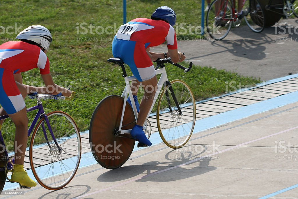 Bicyclists. Race for the leader. royalty-free stock photo