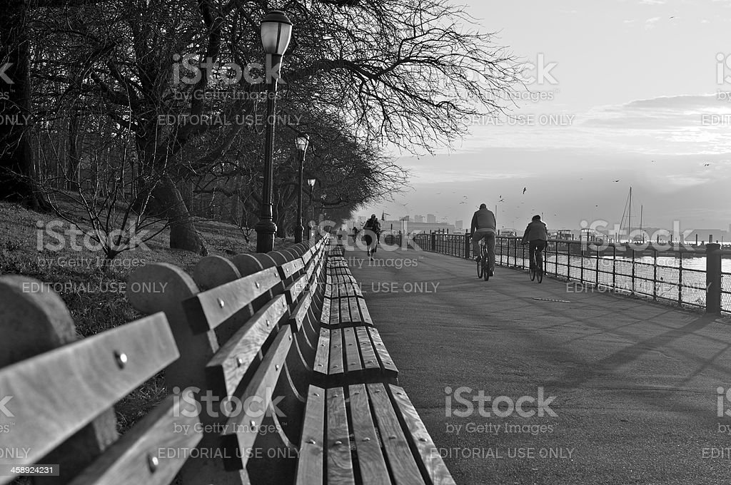 Bicyclists & Runner at Promenade, Riverside Park, Manhattan, NYC stock photo