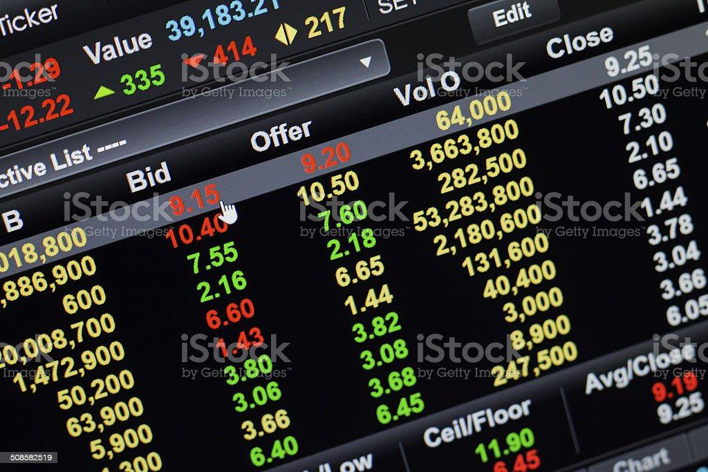 Bid click stock market stock photo
