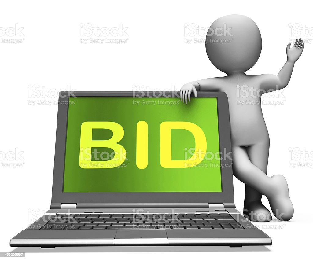 Bid Laptop And Character Shows Bidder Bidding Or Auctions Online stock photo