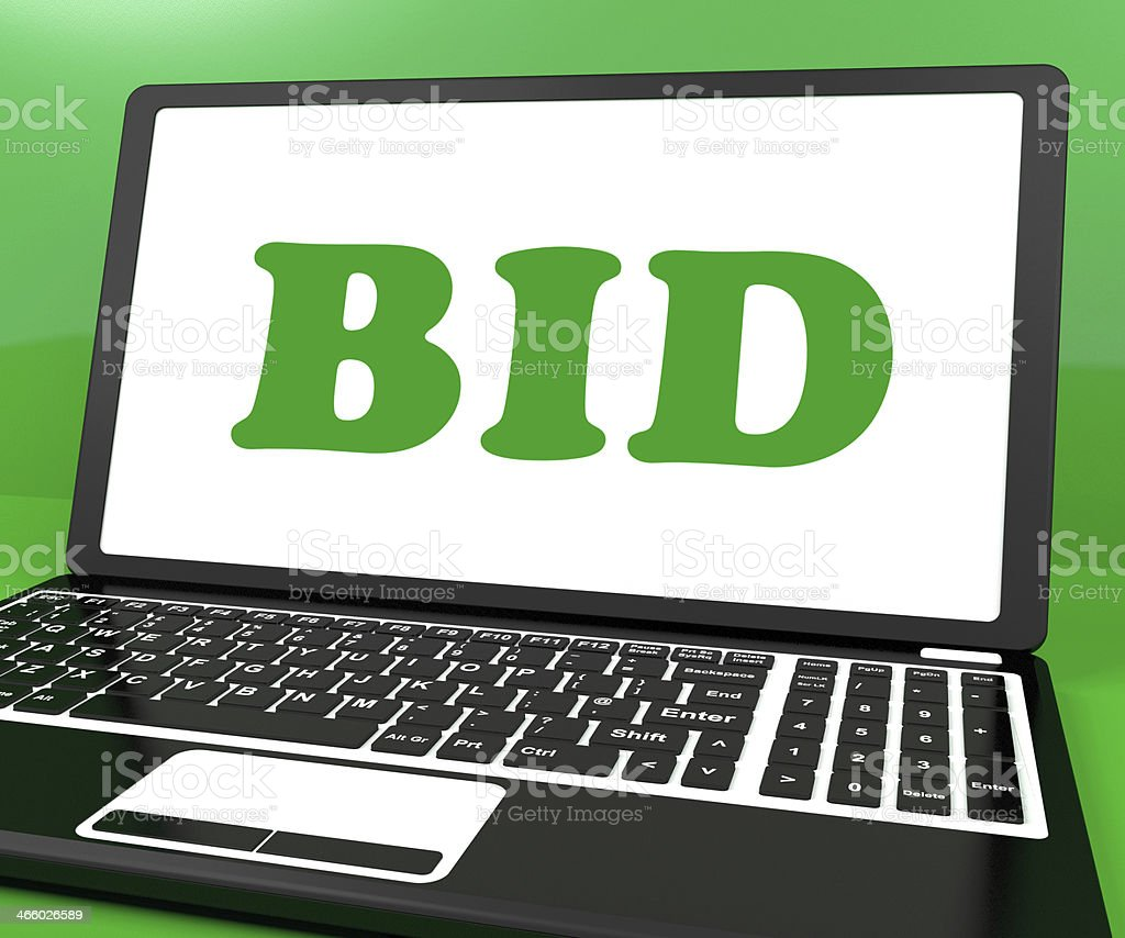 Bid On Laptop Shows Bidder Bidding Or Auction Online stock photo