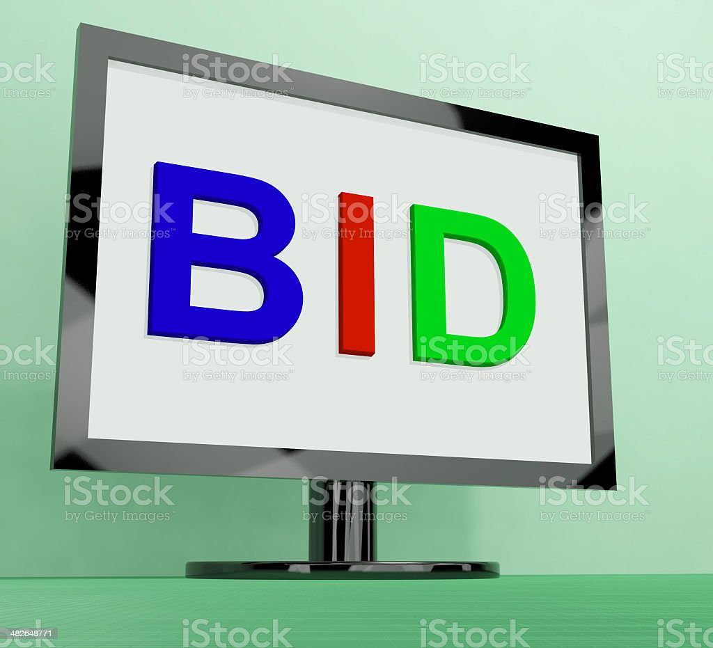 Bid On Monitor Shows Bidding Or Auction stock photo