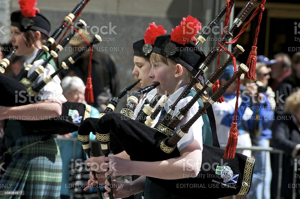 Bideford Youth Pipe Band, Tartan Day Parade, NYC stock photo