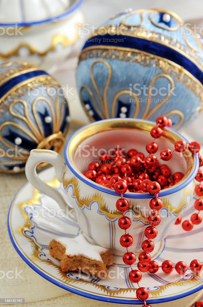 Biedermeier porcelain with old Christmas ornaments stock photo