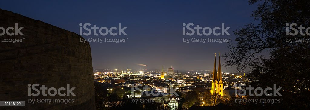 bielefeld germany cityscape in the evening panorama stock photo