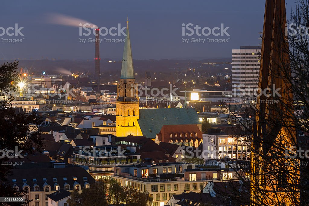 bielefeld germany cityscape in the evening stock photo