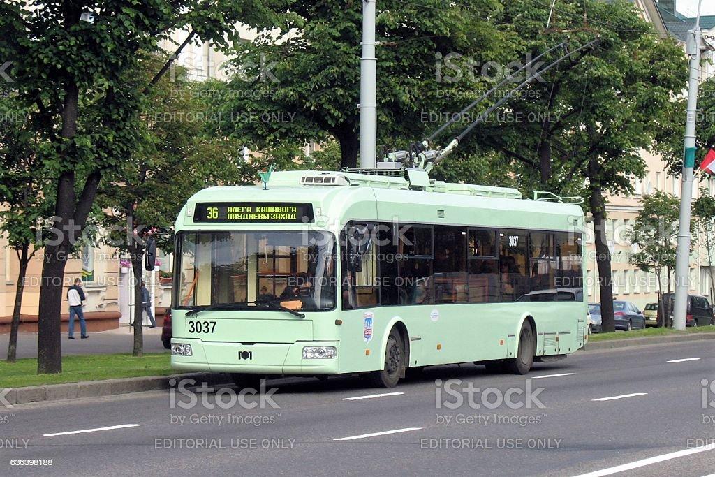 Bielkommunmasz trolleybus on the street in Minsk stock photo