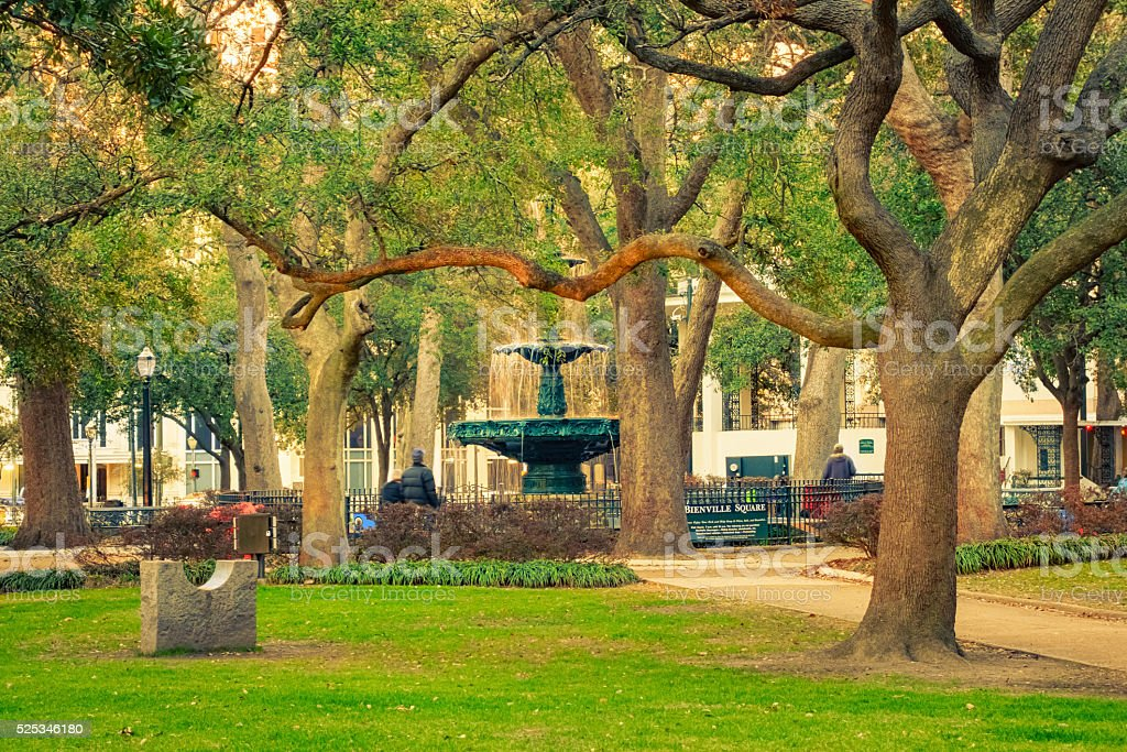 Bienville Square and Park in Downtown Mobile Alabama USA stock photo