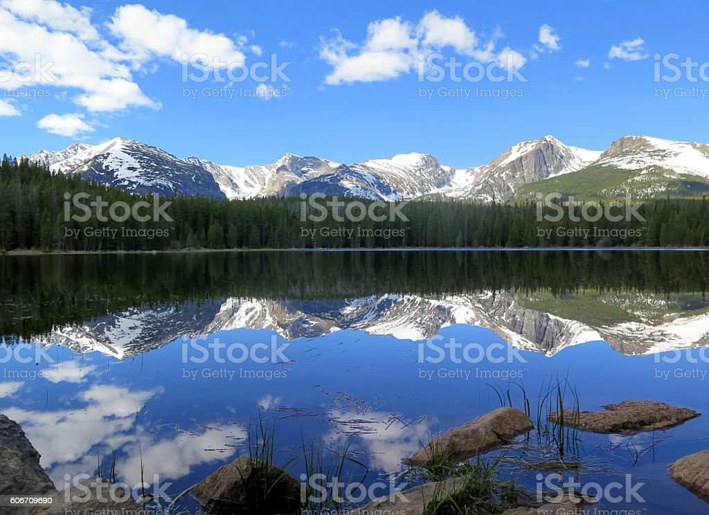 Bierstadt Lake with the Continental Divide reflection in Rocky M stock photo