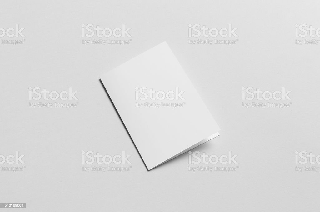 A6 Bi-Fold / Half-Fold Brochure Mock-Up - Backside stock photo