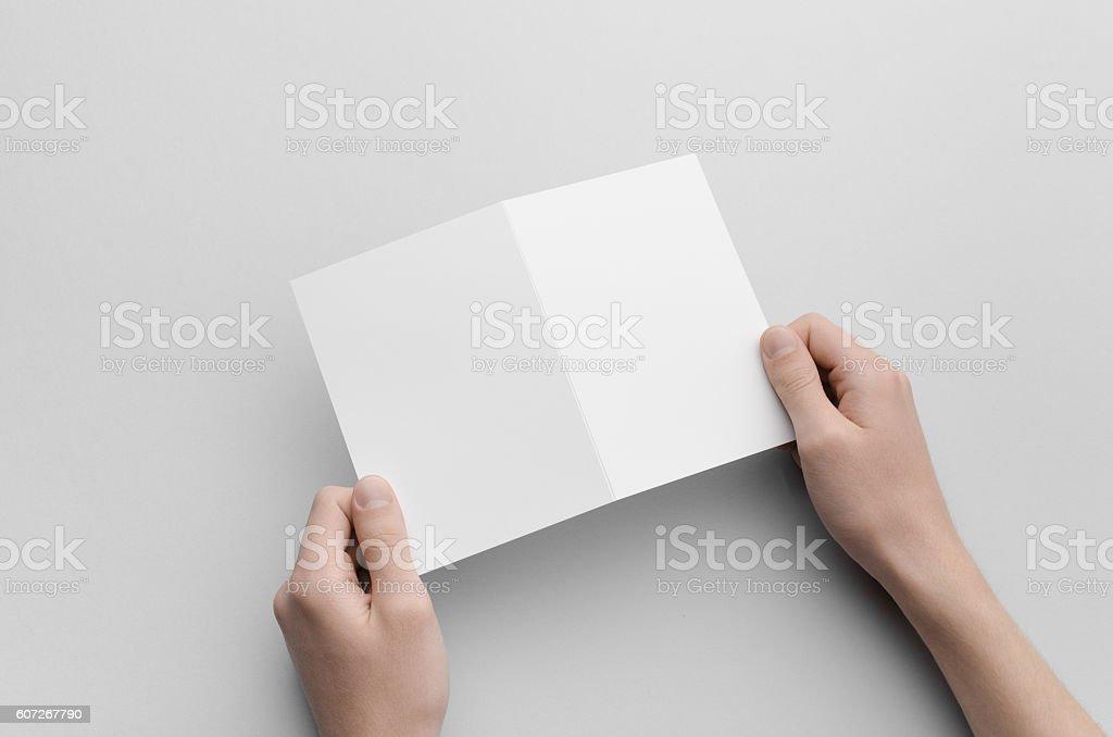 A6 Bi-Fold / Half-Fold Brochure Mock-Up stock photo