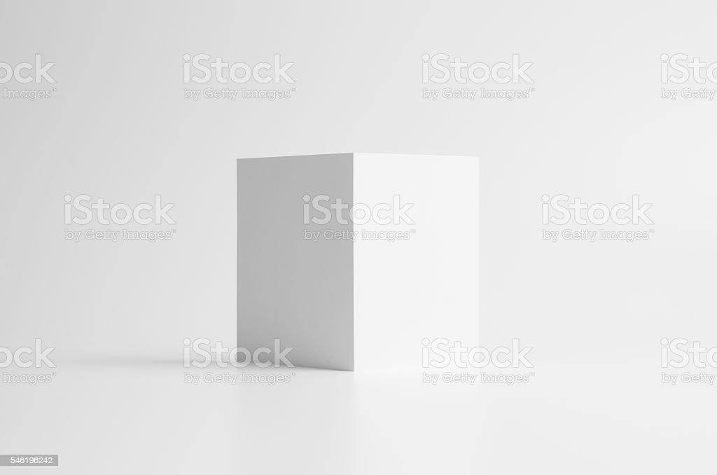 A6 Bi-Fold / Half-Fold Brochure Mock-Up. Seamless Background stock photo