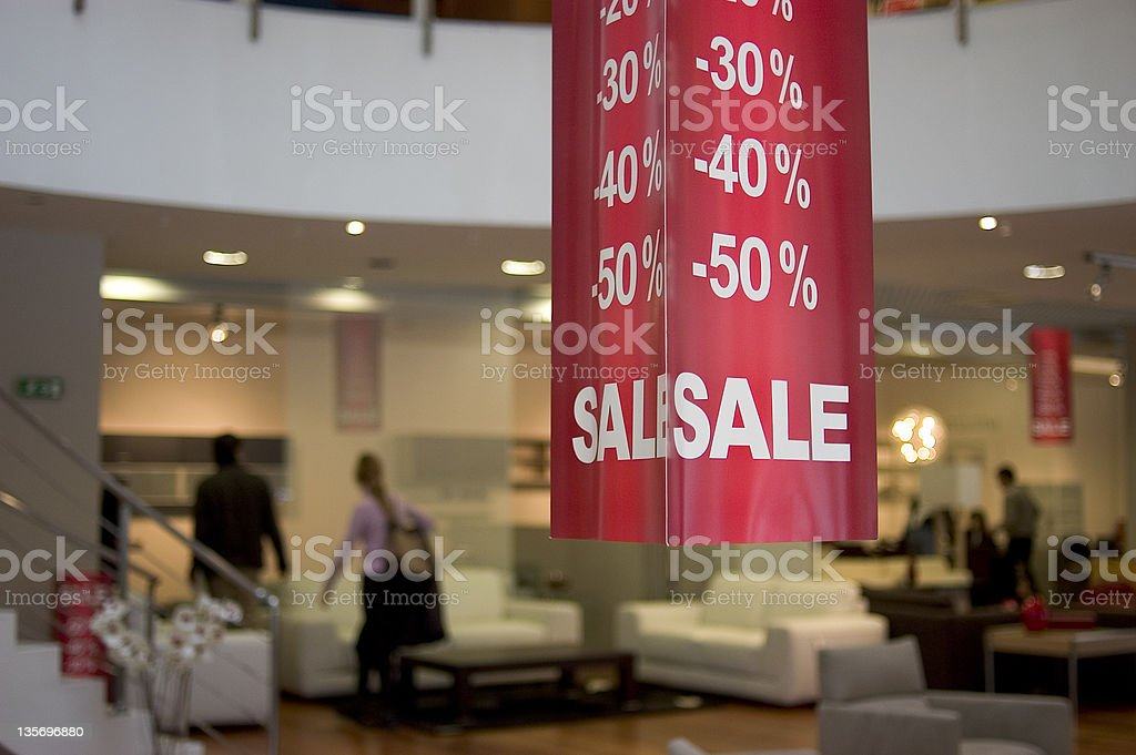 Big 30 through 50 percent off sale at a department store stock photo